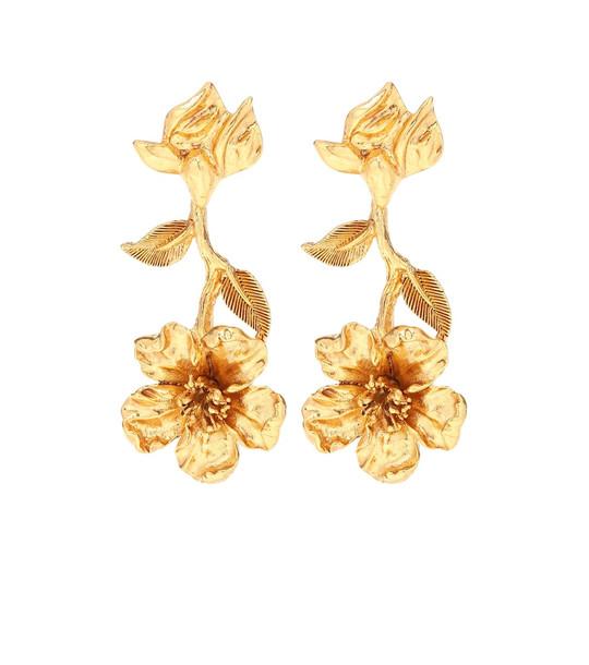 Oscar de la Renta Floral drop earrings in gold
