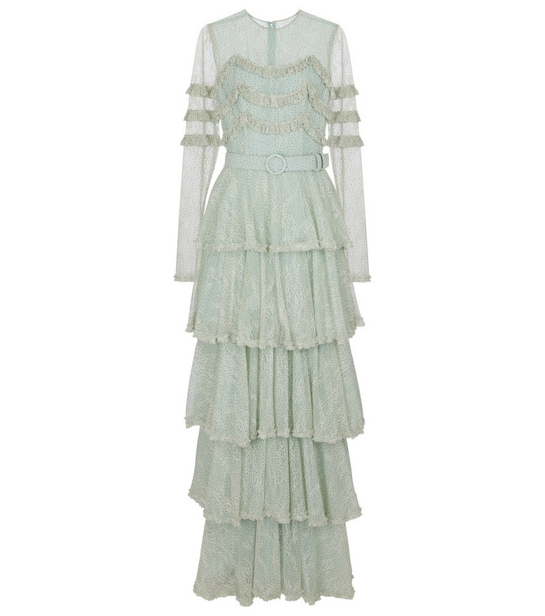 Costarellos Miranne Chantilly lace gown in green