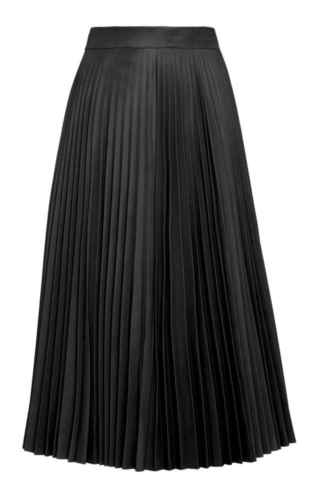 Red Valentino Pleated Leather Midi Skirt Size: 40 in black
