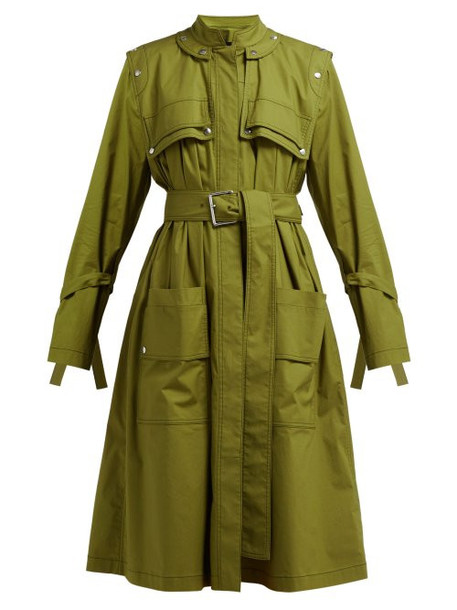 Proenza Schouler - Belted Cotton Blend Single Breasted Trench Coat - Womens - Dark Green