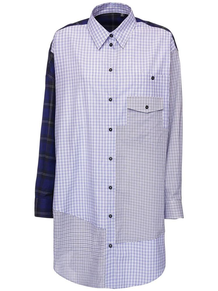MCQ Genesis Ii Patchwork Cotton Shirt Dress in blue