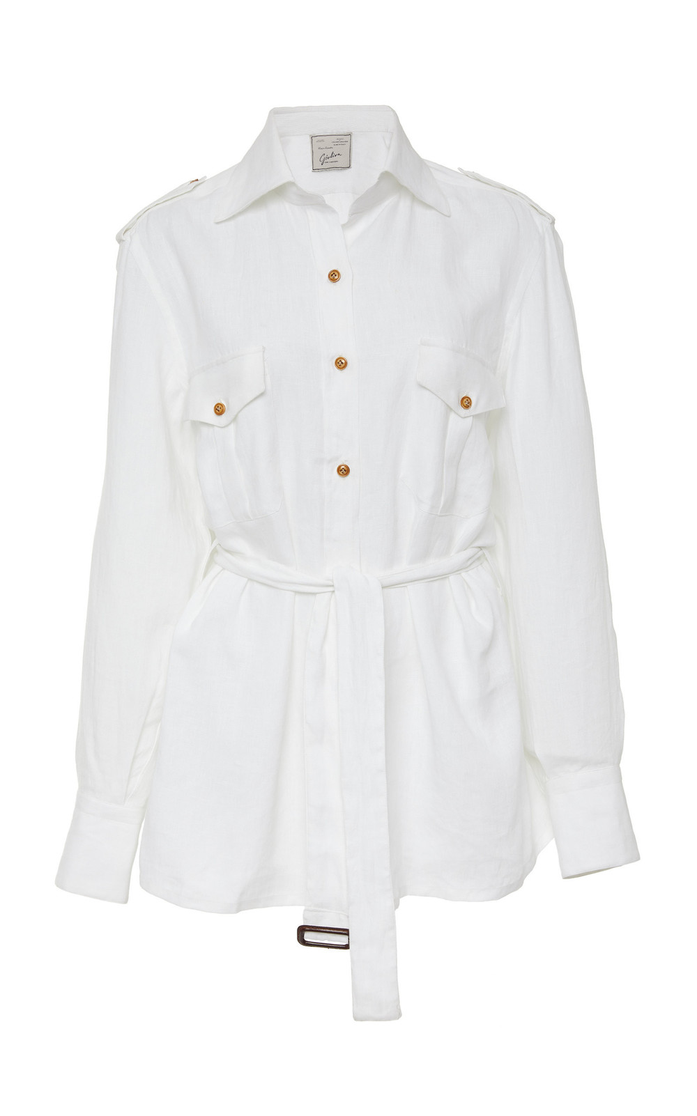 Giuliva Heritage Collection Aurora Belted Linen Top in white