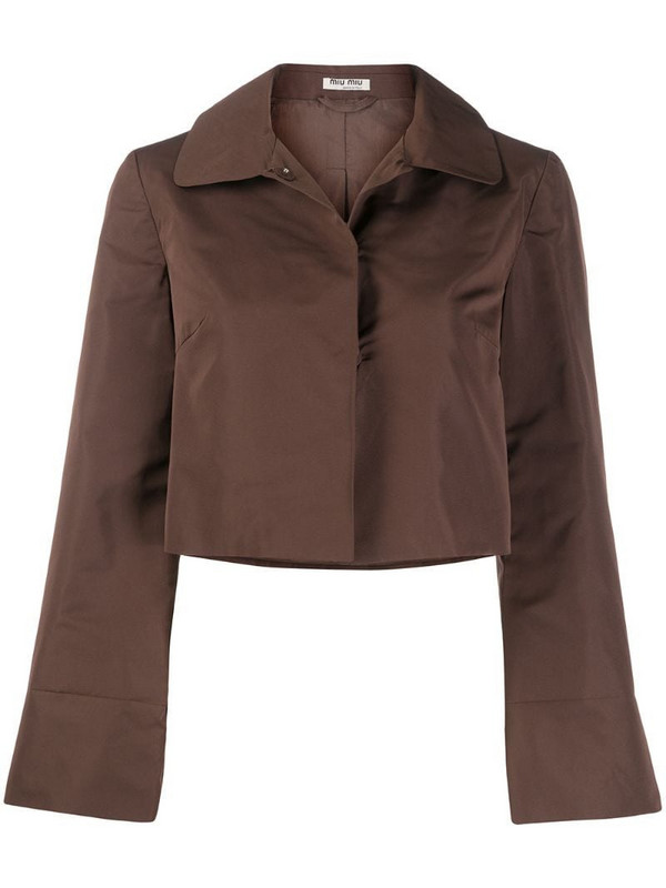 Miu Miu Pre-Owned 1990s classic collar cropped jacket in brown