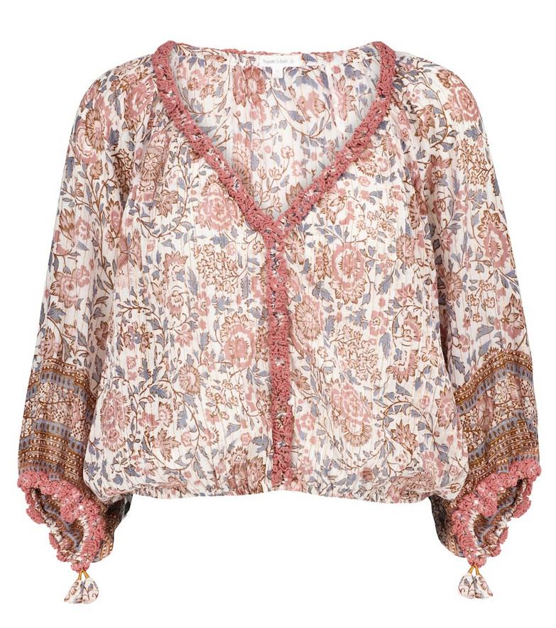 Poupette St Barth Floral cotton blouse in pink