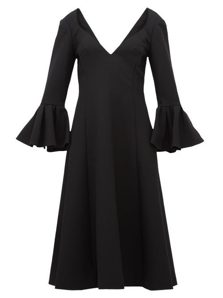Marc Jacobs - Bell Cuff Wool Crepe Midi Dress - Womens - Black