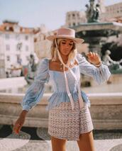 skirt,top,long sleeves,wrap skirt,mini skirt,hat