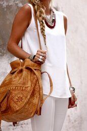 blouse,pants,shoulder bag,leather,purse,bag,brown bag,morroco,boho,leather purse,cute,moroccan,t-shirt,leather bag,light caramel brown color