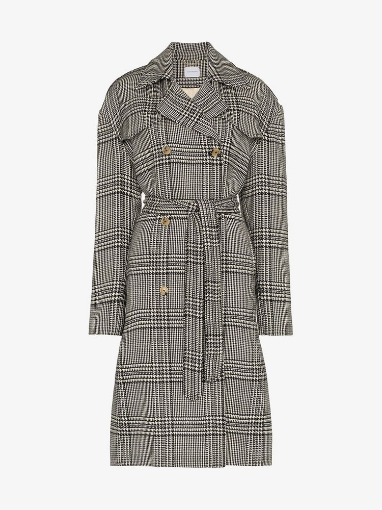 Magda Butrym checked double breasted coat in grey