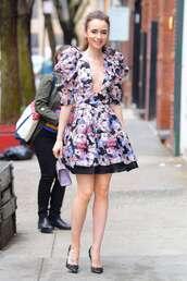 dress,floral,floral dress,lily collins,celebrity,spring dress,prom dress,plunge dress