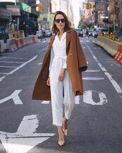 jumpsuit,white jumpsuit,long coat,pumps