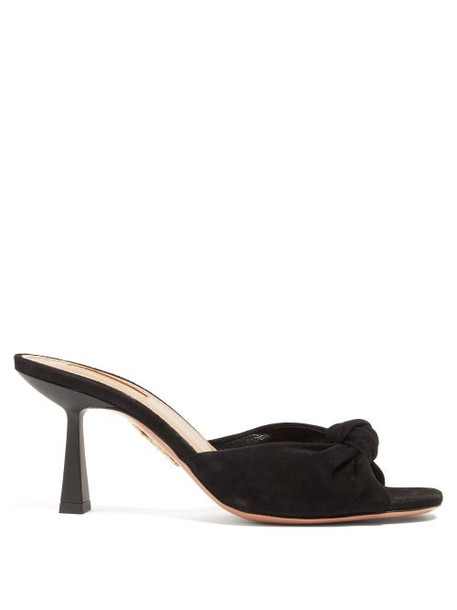 Aquazzura - Pasha 75 Knotted Suede Mules - Womens - Black