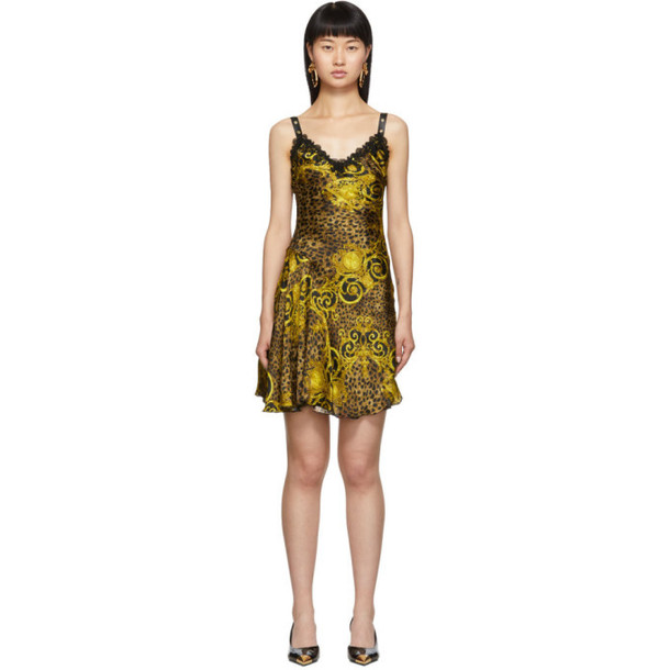 Versace Jeans Couture Gold Leopard Baroque Dress