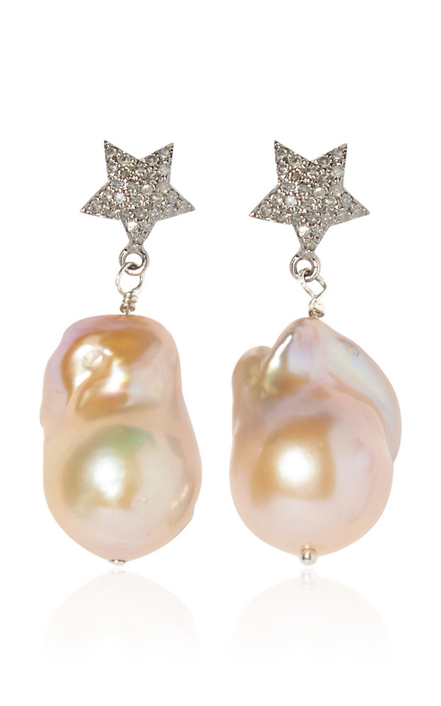 Joie DiGiovanni Diamond And Pearl Drop Earrings in pink