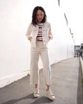 jeans,cropped jeans,wide-leg pants,sneakers,denim jacket,striped top