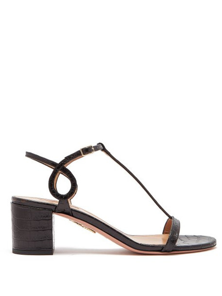 Aquazzura - Almost Bare Crocodile Effect Leather Sandals - Womens - Black