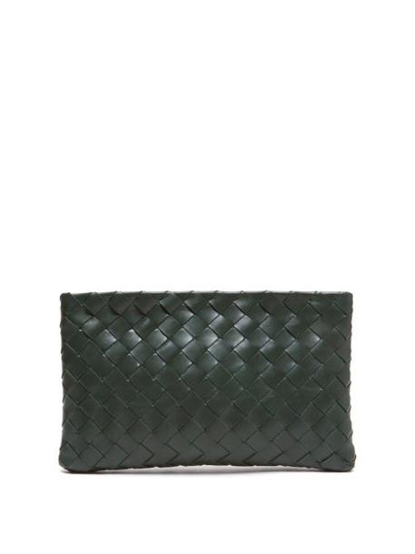 Bottega Veneta - Intrecciato Leather Pouch - Womens - Khaki