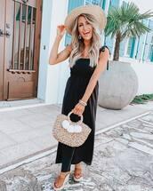 jumpsuit,black jumpsuit,sleeveless,platform sandals,handbag,hat