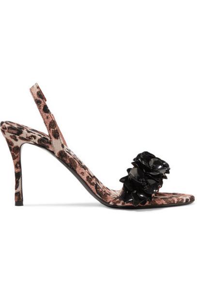 Tabitha Simmons - Johanna Ortiz Follie Embellished Leopard-print Twill Slingback Sandals - Leopard print
