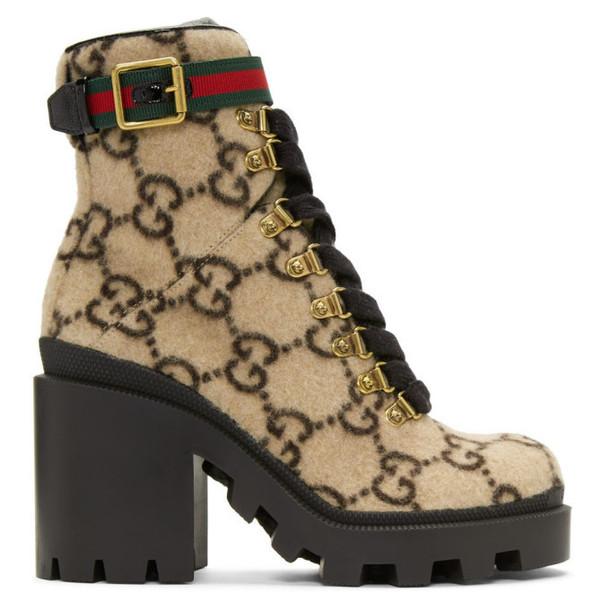 Gucci Beige Wool GG Boots