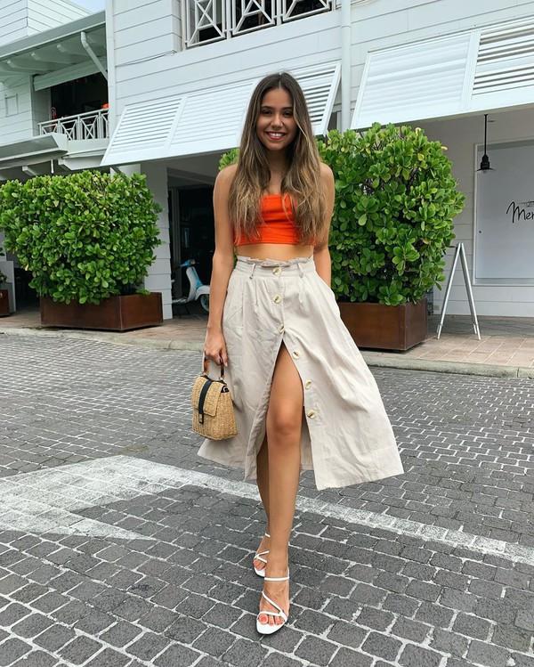 top crop tops tank top white sandals midi skirt high waisted skirt handbag