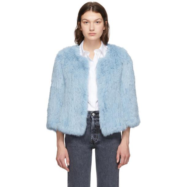 Yves Salomon Blue Rabbit Fur Knitted Jacket
