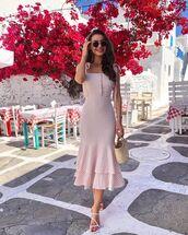 dress,midi dress,striped dress,sleeveless dress,handbag,white sandals