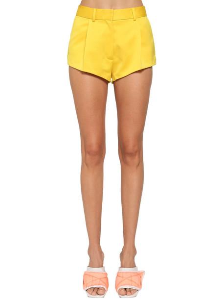 HERON PRESTON Tailored Heavy Satin Shorts in yellow