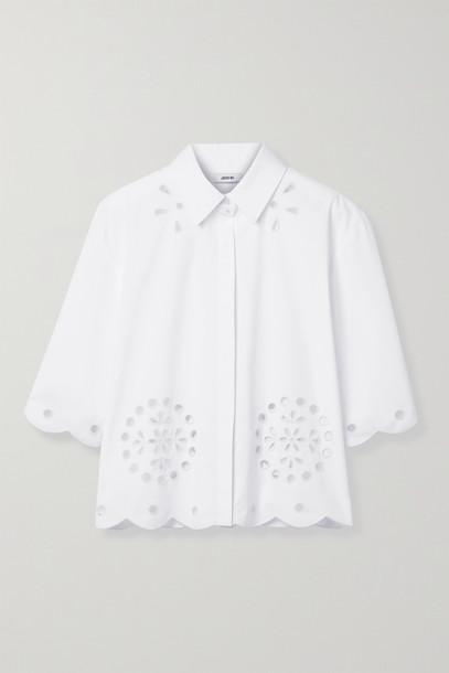 JASON WU - Broderie Anglaise Cotton-blend Poplin Shirt - White