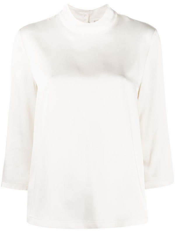 Semicouture Charline mock neck blouse in neutrals