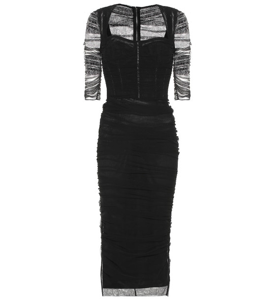 Dolce & Gabbana Ruched tulle midi dress in black
