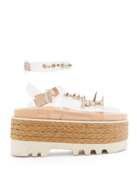 Simone Rocha - Embellished Pvc-strap Espadrille Flatform Sandals - Womens - White