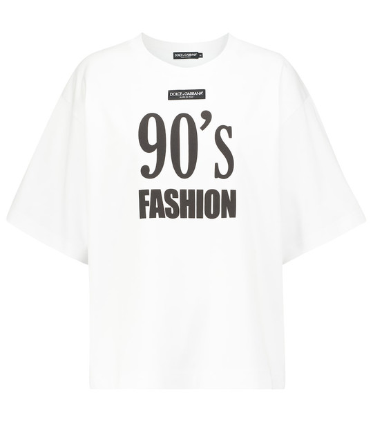 Dolce & Gabbana Printed oversized cotton T-shirt in white