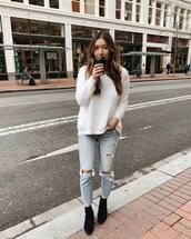 jeans,ripped jeans,black boots,ankle boots,heel boots,white sweater,casual,streetstyle