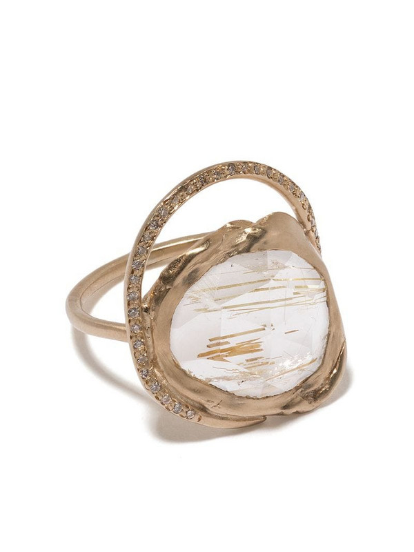Pascale Monvoisin 9kt yellow gold diamond quartz Gaïa ring