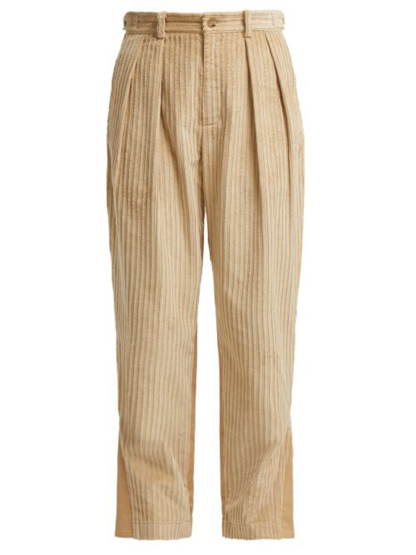Koché Koché - Panelled Cotton Corduroy And Twill Trousers - Womens - Beige