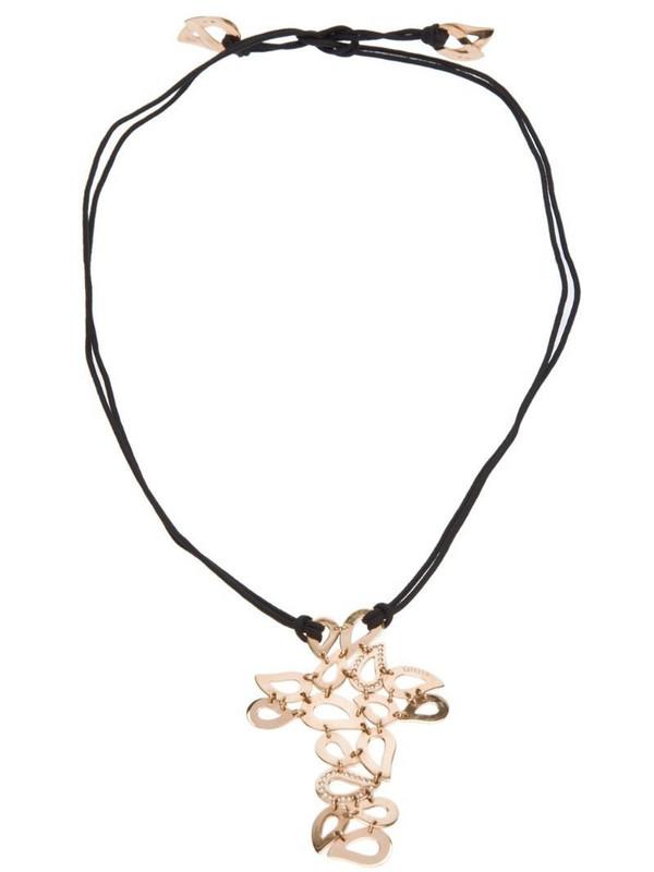 Gavello tear drop crucifix necklace in black