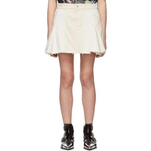 Alexander McQueen Off-White Denim Patchwork Miniskirt