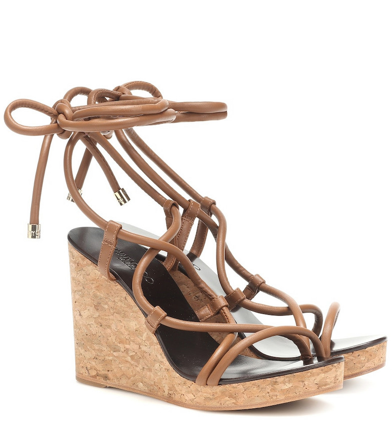 Jimmy Choo Allis 95 wedge sandals in brown