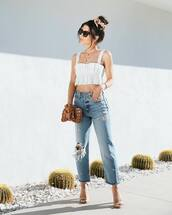 top,crop tops,white top,ripped jeans,high waisted jeans,cropped jeans,sandal heels,wood,handbag
