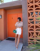 bag,green bag,white shorts,High waisted shorts,pleated,shirt,short sleeve,white sandals