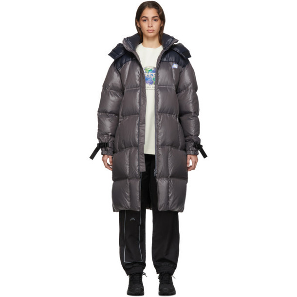 ADER error Grey and Black Down Logo Puffer Coat