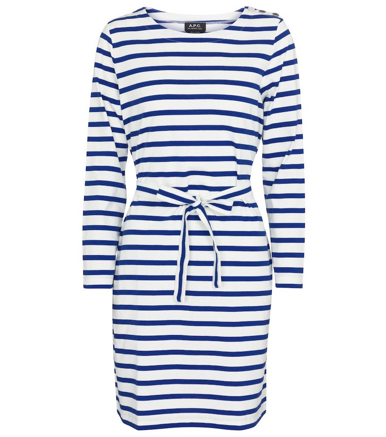 A.P.C. Florence striped cotton jersey dress in blue