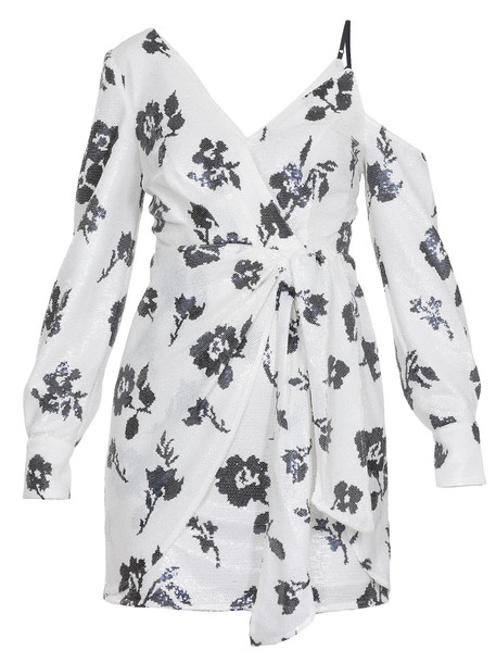 self-portrait Floral Sequin Wrap Dress in navy / ivory