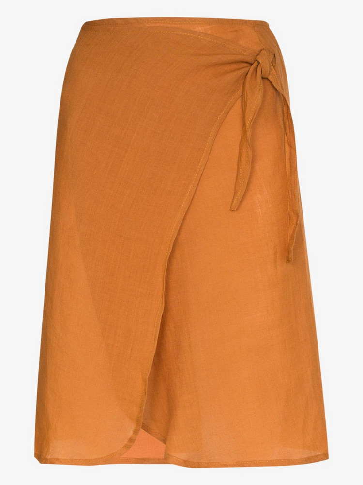 Anemone Femme high waist ramie wrap skirt in orange