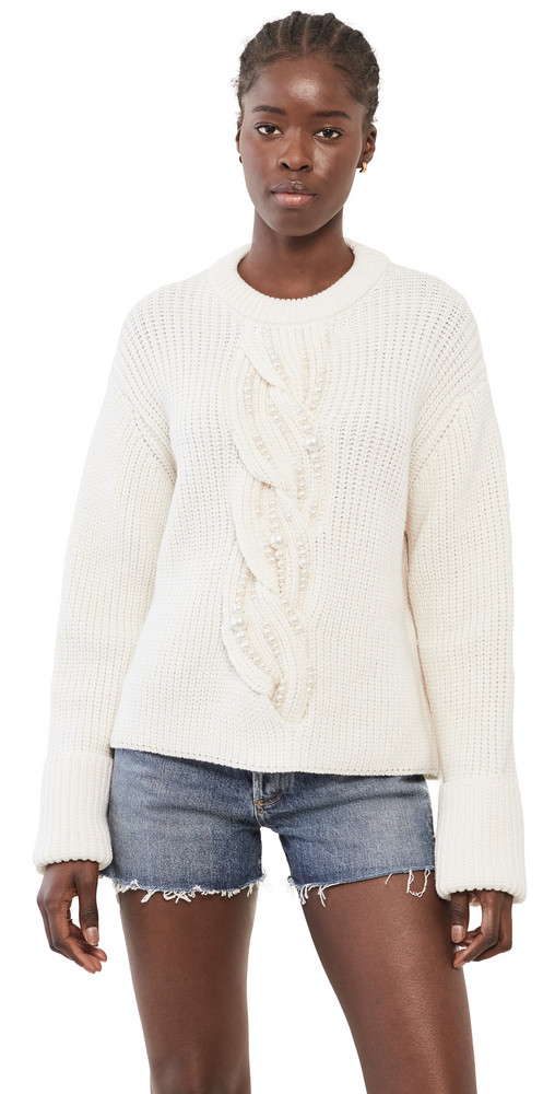 Monse Imitation Pearl Cable Sweater in ivory