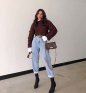 jeans,high waisted jeans,black boots,knitted sweater,cable knit,bag