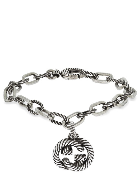 GUCCI Interlocking G Pendant Bracelet in silver