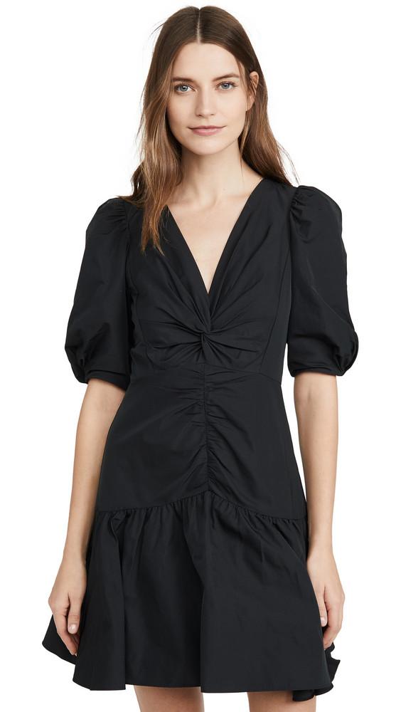 Rebecca Taylor Short Sleeve Tafetta Dress in black