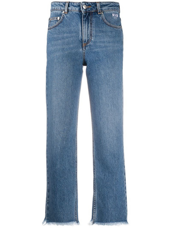 MSGM frayed-edge cropped jeans in blue