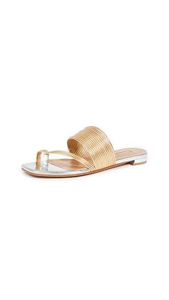 Aquazzura Sunny Sandal Flats in gold / silver